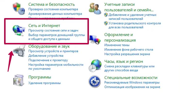 панель управления сеть